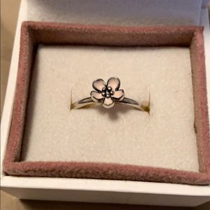 Dainty Pandora Stackable Ring, Pink Cherry Flower